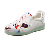 Calçados Femininos-Tênis Social-Arrendondado-Rasteiro-Preto / Branco-Courino-Ar-Livre / Casual / Para Esporte