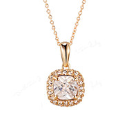 T&C Women's 18K Rose Gold Plated 4 Prongs Square Simulated Diamond with Crystal Surround Pendant Necklace