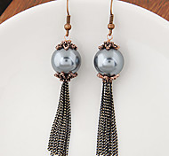 Women's New European Style Retro Fashion Metal Chain Tassel Imitation Pearl Drop Earrings