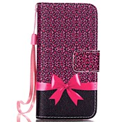 Leopard and Bow Pattern Magnetic Leather Stand Protective Case with Lanyard for iPhone SE / 5 / 5S