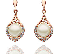 European Style Luxury Fashion Elegant Shiny Rhinestone Pearl Hollow Earrings