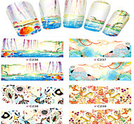1pcs  Nail Art Water Transfer Stickers Abstractive Fish Bird Image Fashion C236-239