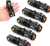 6pcs/Lot Mini 2000LM CREE Q5 LED Adjustable Zoom Focus Flashlight Torch Lamp AA Flashlight Torch Light