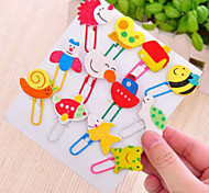 12PCS  Creative Gifts And Lovely Personality Paper Clips Wooden Cartoon Bookmarks(Style random)