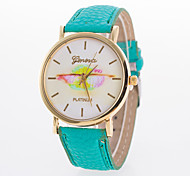Women's Fashion Watch Casual Watch Quartz PU Band Black White Blue Red Brown Green Pink Yellow Rose Strap Watch