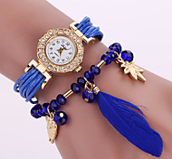 Lady's  Quartz Analog White Case Feather Owl Pendant Leather Band Bracelet Wrist Watch Jewelry Cool Watches Unique Watches