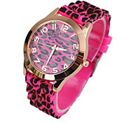 Women's Fashionable  Leopard Silicone Quartz Watch Silicone Band