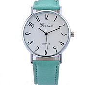 Women's Fashionable  Leisure Geneva Digital Dial Blue Glass Quartz Watch Leather Band Cool Watches Unique Watches