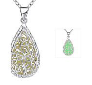 Delicate Luminous Water-Drop Zinc Alloy Silver Plated Pendant Necklace(Green, Blue, Purple)(1PC)