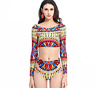 2016 Explosion Models In Europe And America New Digital Printing Long-Sleeved Sexy Ms. Split Swimsuit