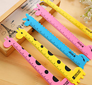 1PC Cute 15cm Giraffe Ruler Stationery Plastic Measuring Straight Rulers Tool (Style random)