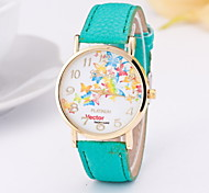 Women's Fashion Watch Quartz Leather Band Butterfly Red Green Pink