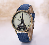 Men/Women Eiffel Tower  Case Denim Fabric Band Analog Quartz Wrist Watch Cool Watch Unique Watch Fashion Watch