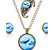 Lureme® Time Gem Series Vintage Ocean Dolphin Pendant Necklace Stud Earrings Hollow Flower Bangle Jewelry Sets