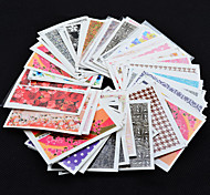 50PCS Fashion Flower Bows Etc Water Transfer Sticker Nail Art Decals Nails Wraps Watermark Nail Tools(Random Color)