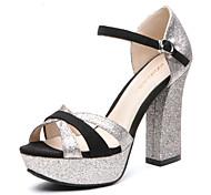 Aokang® Women's Sparkling Platform Chunky Heel Sheepskin Sandals(black)- 132811005