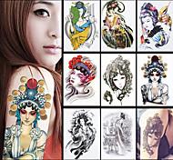 papel femenino 8pcs Phoenix en el arte de la ópera China las mujeres de la manga de la flor tatoo hombres cuerpo papel adhesivo tatuaje