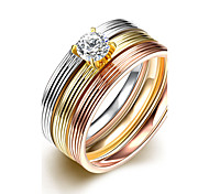 Engagement Ring Prices Classic 18K&Rose&White Gold Plated 316L Stainless Steel 3 Rounds Stripes Rings Unisex Wedding Jewelry