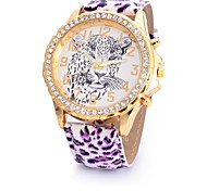 Women's Fashionable  Leisure Leopard Series of Large Diamond Dial Quartz Watch Leather Band