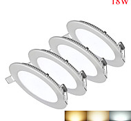 4pcs/lot 18W Round Dimmable LED Panel light warm white/natural white/cold white SMD 2835 Epistar chip AC85-265V