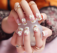 24pcs/set Fake Nails False Nail Finished Manicure Nails Tips Pink Plaid