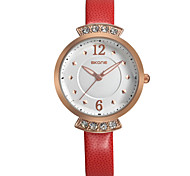 Damen Modeuhr Quartz Leder Band Weiß Rot Orange Braun Weiß Orange Braun Rot