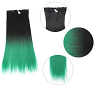 "Neitsi® 110g 22""Full Head 5clips Kanekalon Synthetic Hair Pieces Clip In/on Straight Extensions T-Green#"