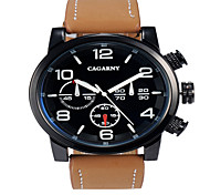 CAGARNY®Men Round Dial Analog Wristwatch with Artificial Leather Strap Assorted Colors Wrist Watch Cool Watch Unique Watch