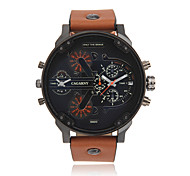 CAGARNY®Men Fashion Round Dial Dual Time Zone Analog Wristwatch with Artificial Leather Strap Assorted Colors