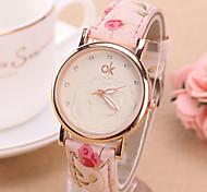 Women's Fashion Watch Quartz PU Band Flower White Green Pink