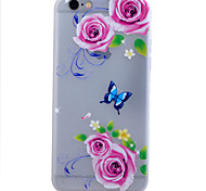 TPU Material Glow in the Dark Translucent Peony Relief Soft Protection Phone Case for iPhone 5/5S/SE