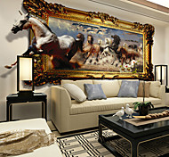 JAMMORY Animals Wall Stickers 3D Wall Stickers,Canvas Seamless 3D Stereoscopic Large Mural Horse S M L XL XXL 3XL
