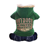 Dog Hoodie / Clothes/Jumpsuit Green / Orange Dog Clothes Winter Jeans / Letter & Number Fashion