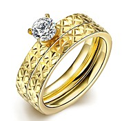 Individual Fashion Unisex's White Zircon Gold-Plated Titanium Steel Couple Rings(Golden)(1Pc)