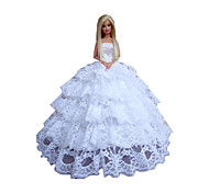 Princess Dresses For Barbie Doll White Dresses For Girl's Doll Toy