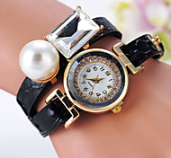 Women's Fashionable Leisure  Big Pearl Watch Leather Band Cool Watches Unique Watches