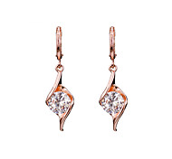 18k Gold AAA Zircon Drop Earrings Jewelry