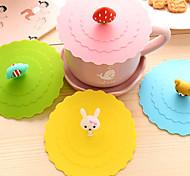 Dia 11cm Various Cartoon Animal Silicone Cup Cover Creative Color Mug Cap Drinkware (Random Color)