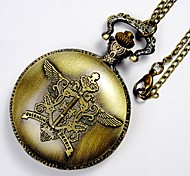 Unisex Pocket Watch Retro-Sided Carving Magic Wand Pregnant Flip Pocket Watch