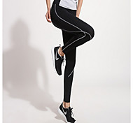Yoga Pants Tights Breathable / Quick Dry / Wicking High High Elasticity Sports Wear BlackRunning