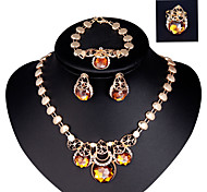 Lucky Doll Diamond 18K Gold Plated Crystal  Rhinestone Necklace & Earrings & Bracelet & Ring Party Jewelry Sets