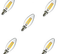 5pcs  E14 4W 400LM Warm/Cool White 360 Degree Edison Filament Light LED Candle Bulb(220V)