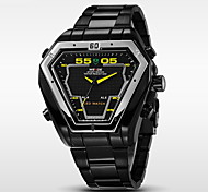 Men's Brand Luxury Triangle Style LED Double Time Black Stainless Steel Quartz Watch