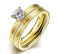 Fashion Delicate Unisex's White Zircon Gold-Plated Titanium Steel Couple Rings(Golden)(1Pc)