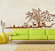 Большое дерево оленей животных стены наклейки птиц декорации наклейки для стен для семьи