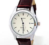 Masculino Relógio de Moda Quartz Relógio Casual Couro Banda Relógio de Pulso Marrom