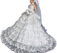 Barbie Doll Deluxe Floor-length Pure White Wedding Dress