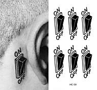 HC-Tatuajes Adhesivos-Waterproof-Otros-Mujer / Hombre / Adulto-Negro-PVC-1pcs-10.5*6cm-Switch Button