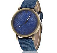 Men/Women Color Case Denim Fabric Band Analog Quartz Wrist Watch Cool Watch Unique Watch