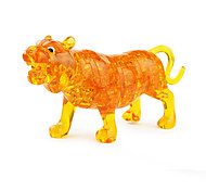 3D DIY Tiger Crystal Puzzle Animal Jigsaw Educational Toys For Kids Or Adults Yellow/Clear